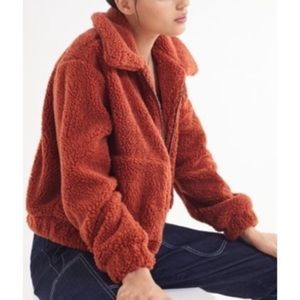UO Cropped Teddy Coat Rust Size Small